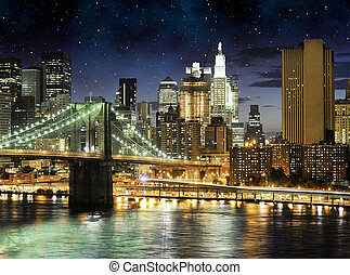 pont, horizon, manhattan, brooklyn, nuit