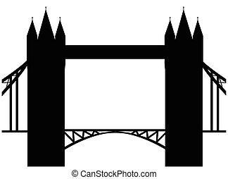 pont, image, isolé, illustration, silhouette., arrière-plan., vecteur, tour blanche, dessin animé