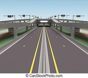pont, intersection, 3d, route, rendre