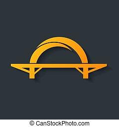 pont, isolé, icône
