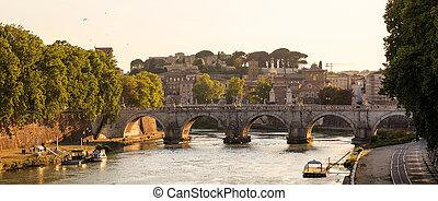 pont, italie, tiber, -, sur, rome, rivière