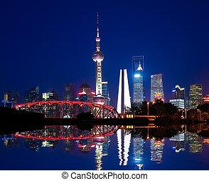 pont, jardin, shanghai, horizon, nuit, repère