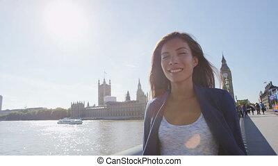 pont, jeune, professionnel affaires, westminster, londres, ...