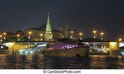 pont, kremlin, moscou, rivière, russie, vue