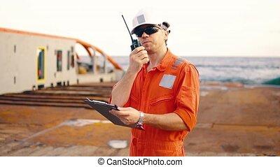 pont, liste contrôle, chef, officier, vaisseau, bateau, ou