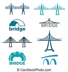 pont, logos, isolé, collection, illustrations, blanc