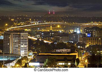 pont, lumière, fremont, nuit, pistes, portland
