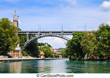 pont, métal, travers, berne, suisse, rivière, aare