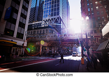 pont, métro, ville, chicago, rue, transport