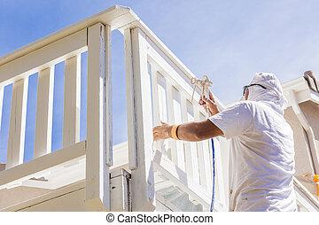 pont, maison, pulvérisation, maison, peinture, peintre