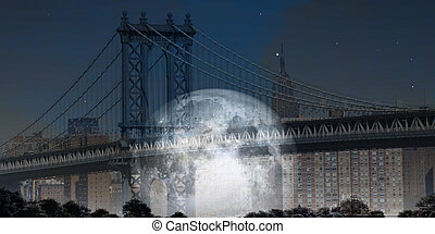 pont, manhattan, lune