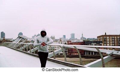 pont, marche, sportif, coureur, montre, jeune, noir, intelligent, london.