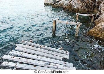 pont, marche, vieux, bois, vendange, sur, eau, mer