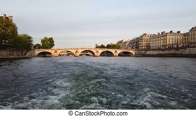 Pont Marie of Paris and Seine river at sunny summer sunset, ...