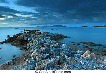 pont, marine, fantastique, pierre, île