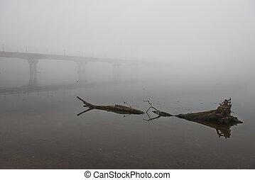 pont, matin, par, rivière, brumeux