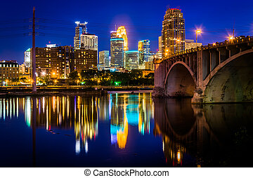 pont, mississippi, central, minnesota., avenue, minneapolis, horizon, refléter, rivière, nuit