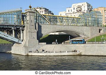 pont, moscou, au-dessous, river., vue