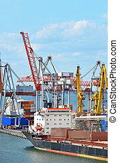 pont, navire porte-conteneurs, sous, grue, pile