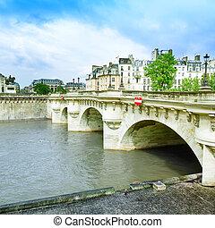 Pont neuf bridge and Seine river in Paris, France, Europe.