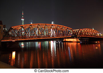 pont, night., shanghai, jardin, porcelaine