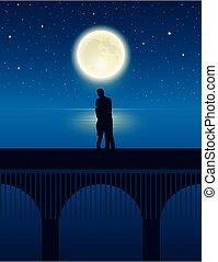 pont, nuit, lune, entiers, étoilé, lac, couple