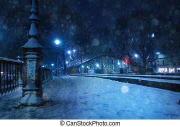 pont, nuit, neige, canal, martinet, pendant, saint, sur