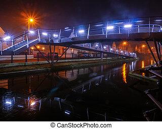 pont, nuit, pedastrian, irlande, tullamore