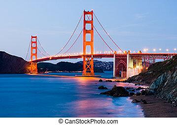pont, nuit, portail, doré