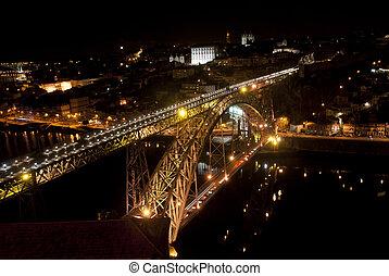 pont, nuit, porto, portugal, luis