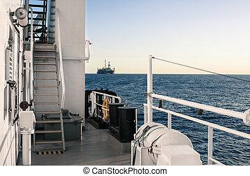 pont, océan, mer, bateau, ou, paysage, vue