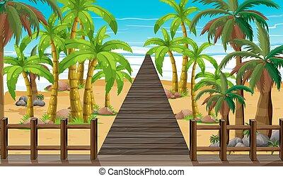 pont, océan, scène, nature