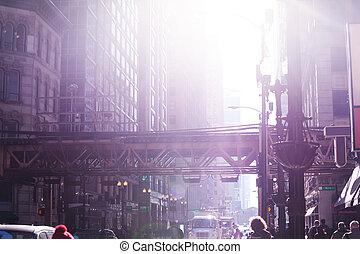 pont, occupé, métro, chicago, rue, vue