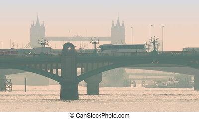 pont, occupé, route, fond