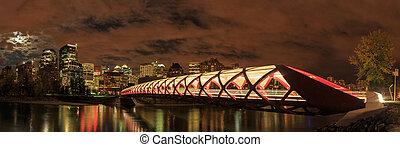 pont paix, sur, fleuve arc, dans, calgary