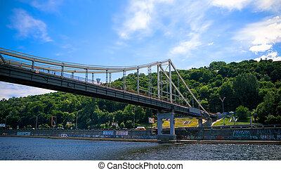 pont, parc, kiev, panorama