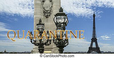 pont, paris, concept, signe., iii, voyage, covid, france., europe., alexandre, eiffel, quarantaine, tour, coronavirus, pandémie