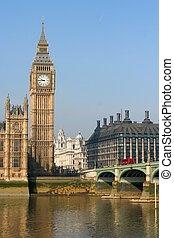 pont, parlement, grand ben, westminster, royaume-uni, maison, nuit, londres