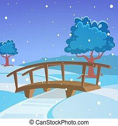 pont, paysage hiver