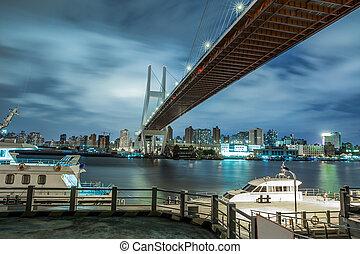 pont, paysage, nanpu, shanghai, croisement, rivière, urbain