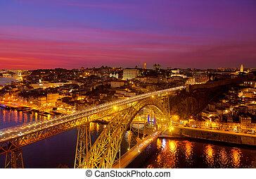 pont, paysage, portugal, porto, par, nuit, luis, rivière, douro