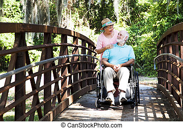 pont, personne agee, gardien