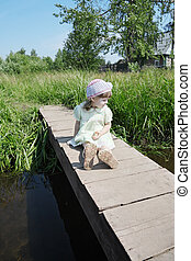 pont, peu, été, joli, village, petit, girl, assied