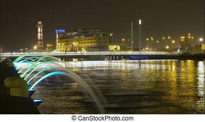 pont, phare, timelapse, fontaine, nuit