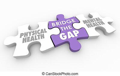 pont, physique, mental, puzzle, illustration, trouée, santé, morceaux, 3d