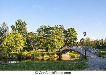 pont pied, rivière, par, ville