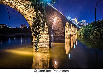 pont, pierre, scène, nuit