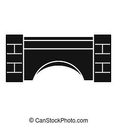 pont, pierre, vieux, simple, style, icône