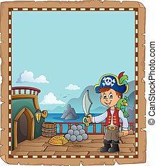 pont, pirate, topic, 2, bateau, parchemin