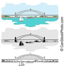 pont, port, symboles, sydney, autres, australien